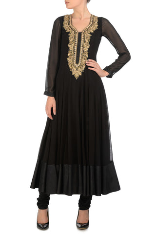 Black & Gold Kurta Front