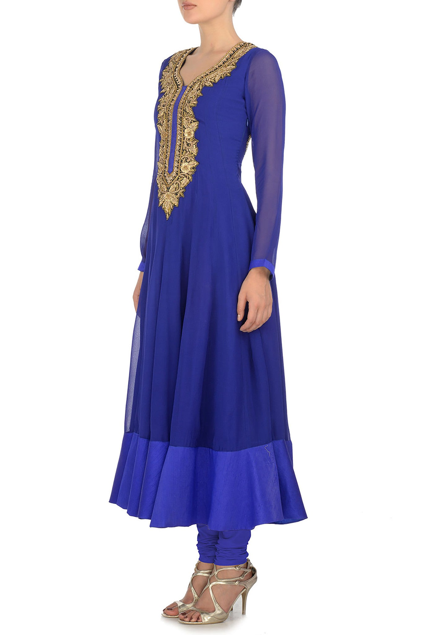 Blue & Gold Kurta Side