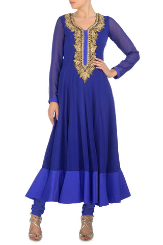 Blue & Gold Kurta Front