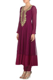 Plum & Gold Kurta Side