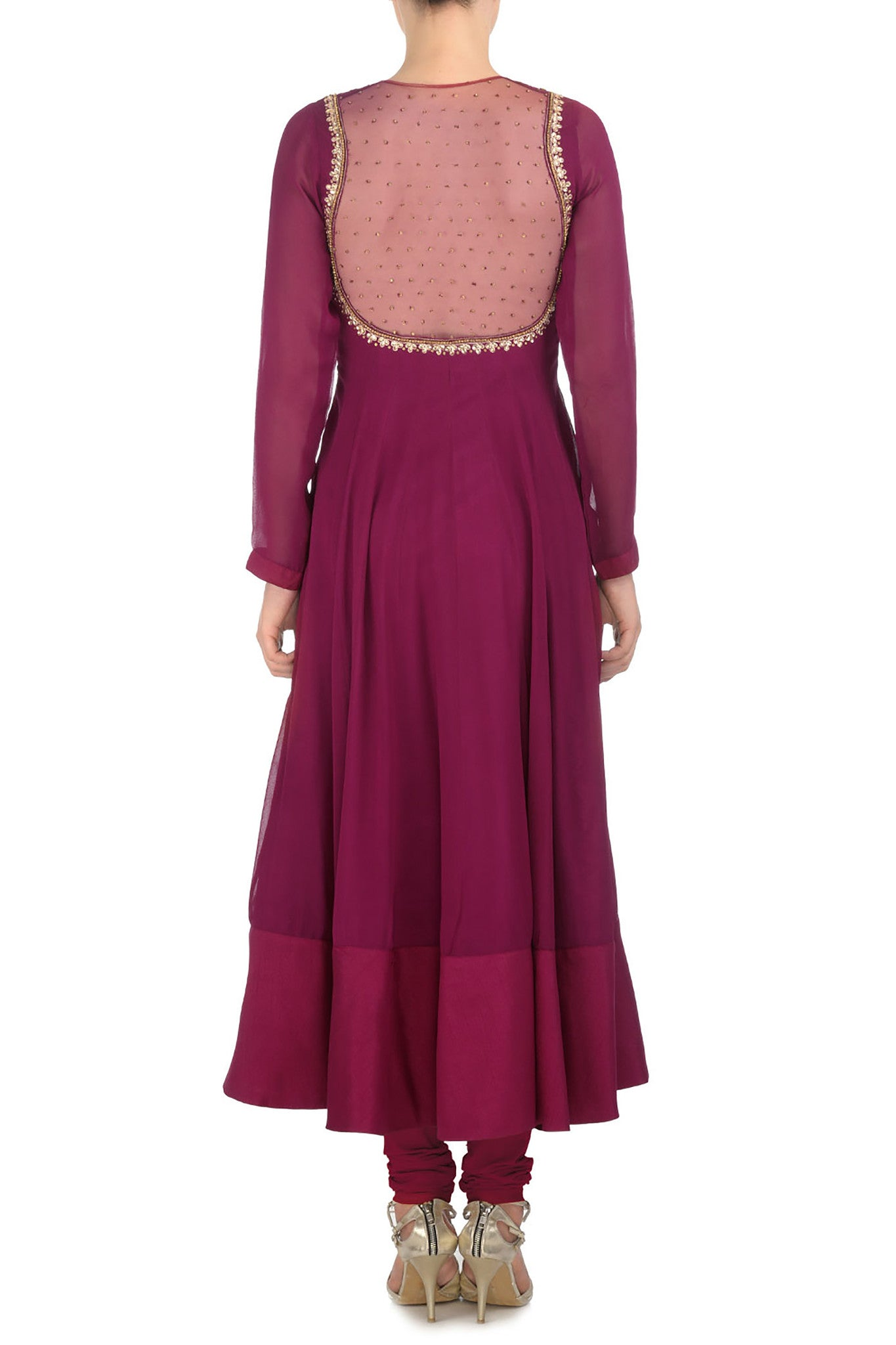Plum & Gold Kurta Back