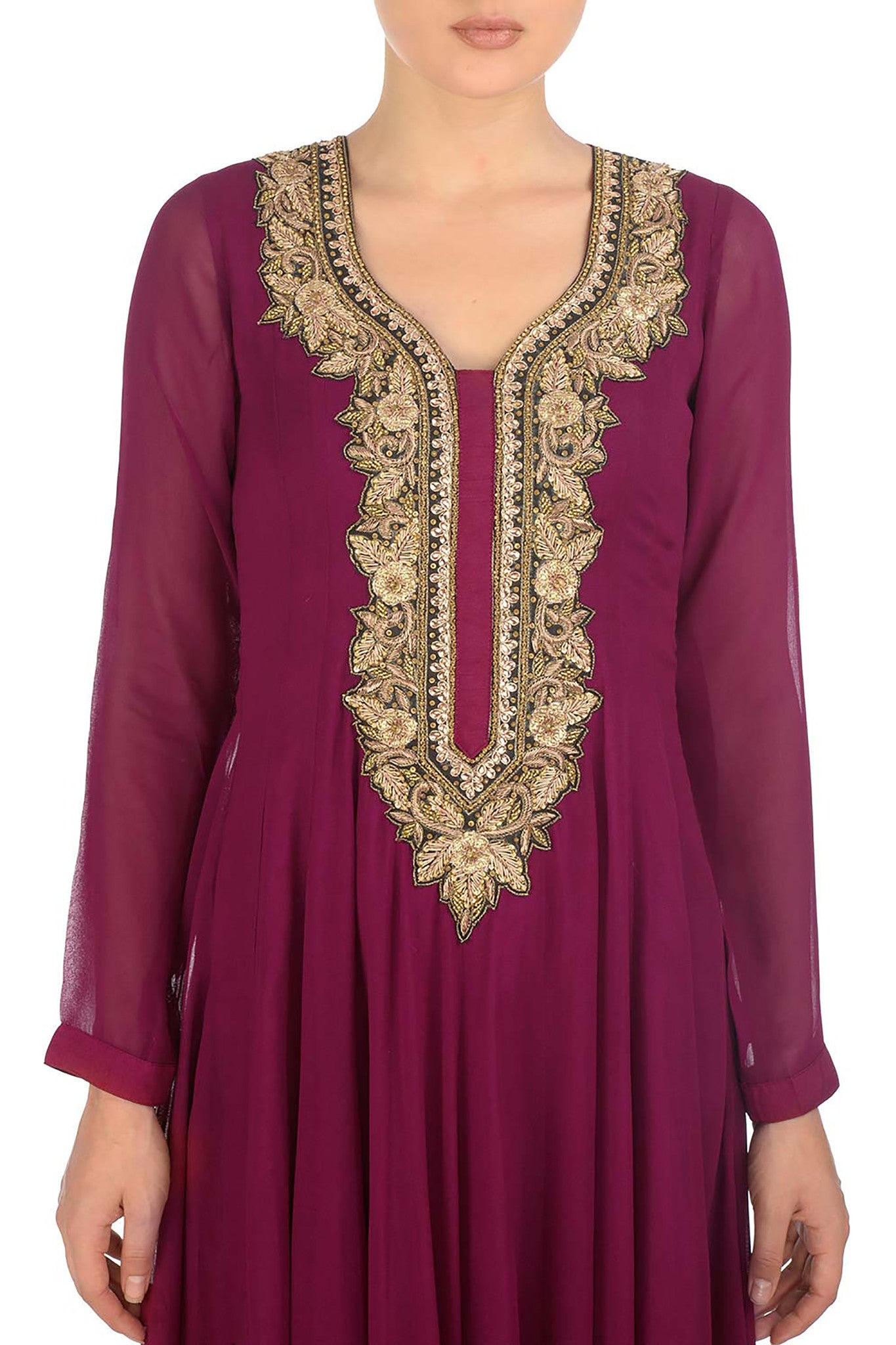 Plum & Gold Kurta Close Up