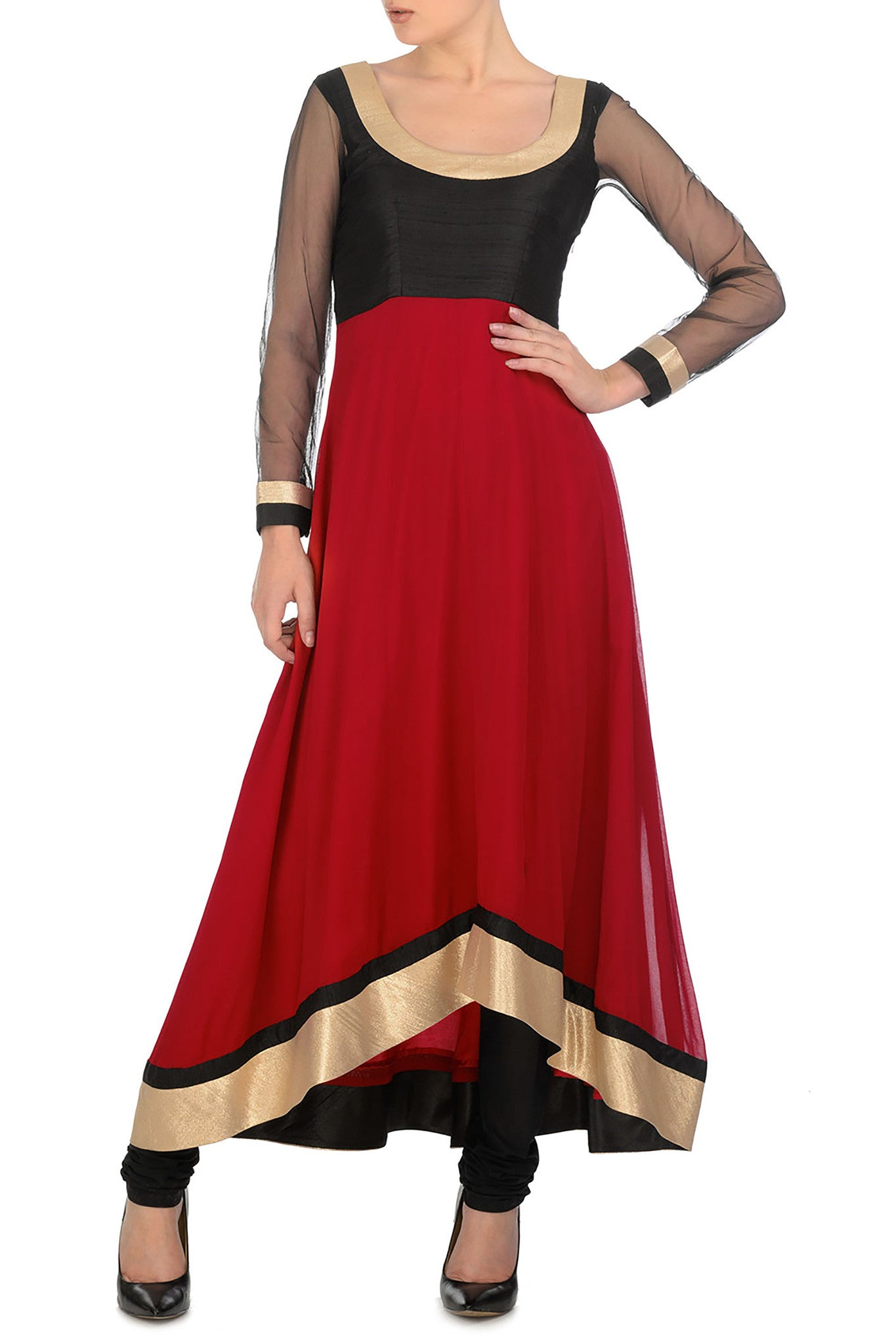 Red and Black Anarkali Front