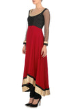 Red and Black Anarkali Side