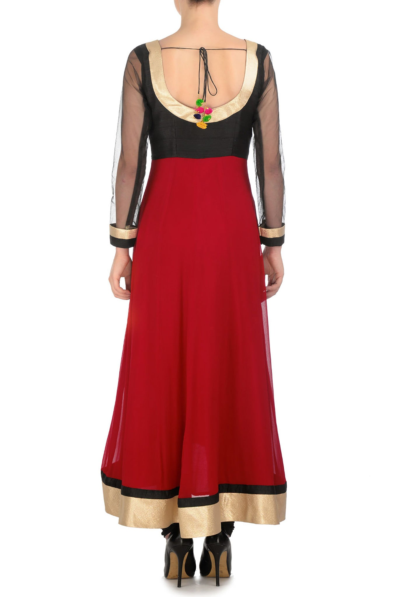 Red and Black Anarkali Back