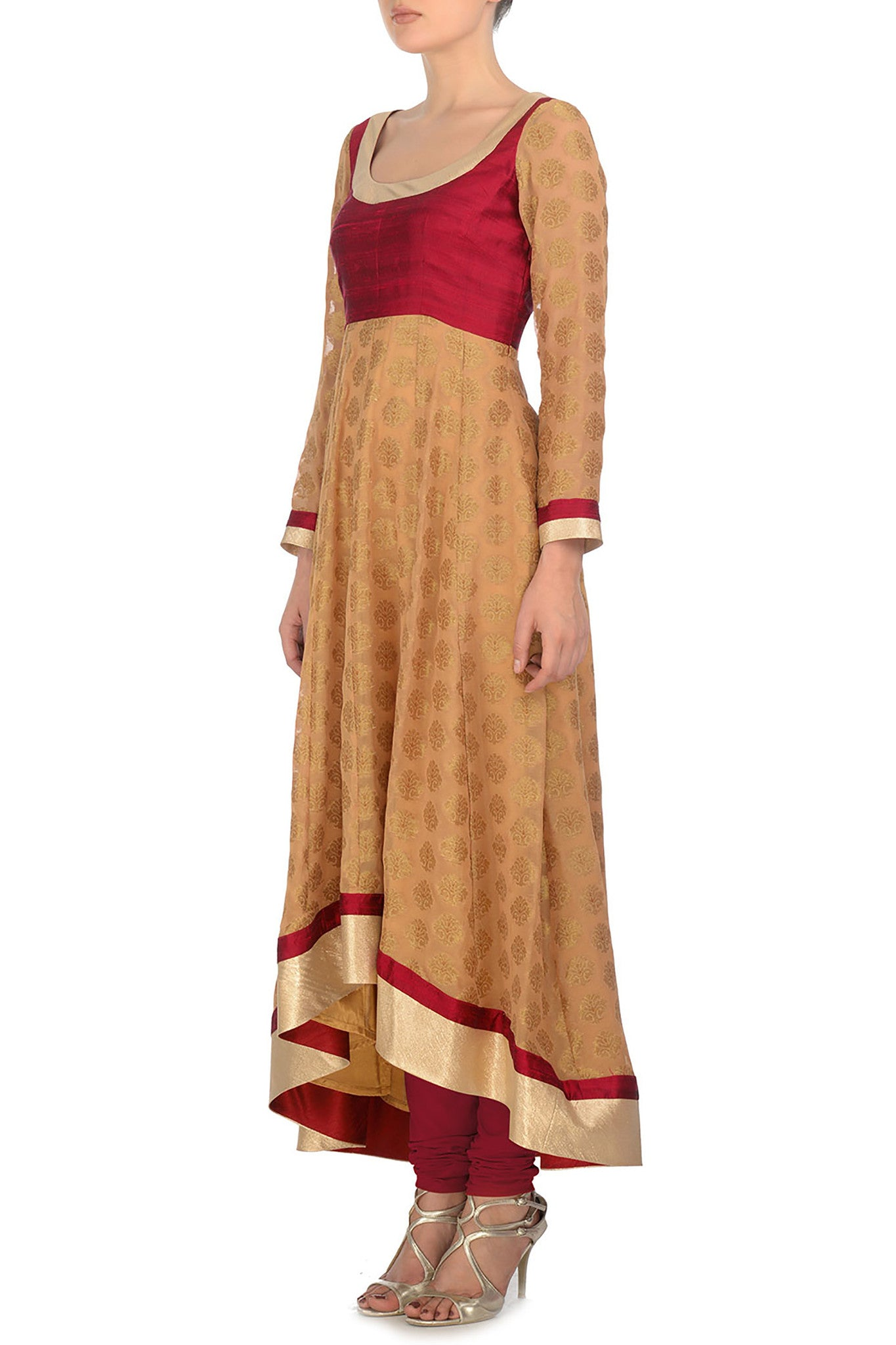 Red and Gold Anarkali Side