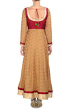 Red and Gold Anarkali Back