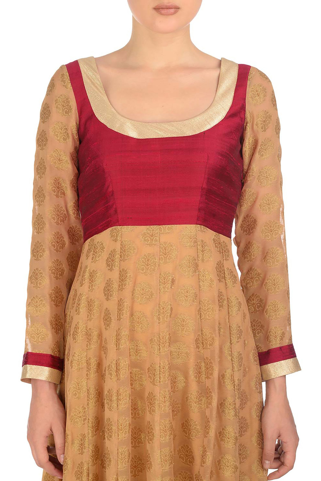 Red and Gold Anarkali Close Up