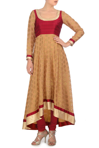 Red and Gold Anarkali Front