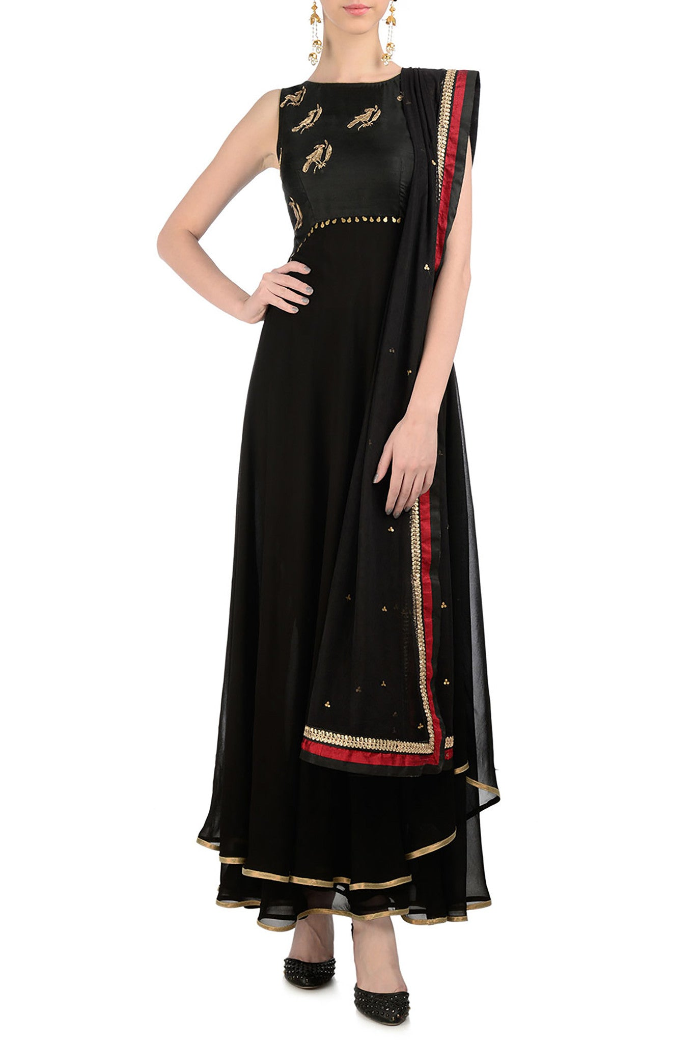 Black Anarkali with Gold Bird Motifs Front