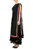 Black Anarkali with Gold Bird Motifs Side