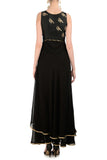 Black Anarkali with Gold Bird Motifs Back