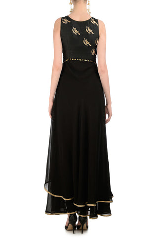 Black Anarkali with Gold Bird Motifs