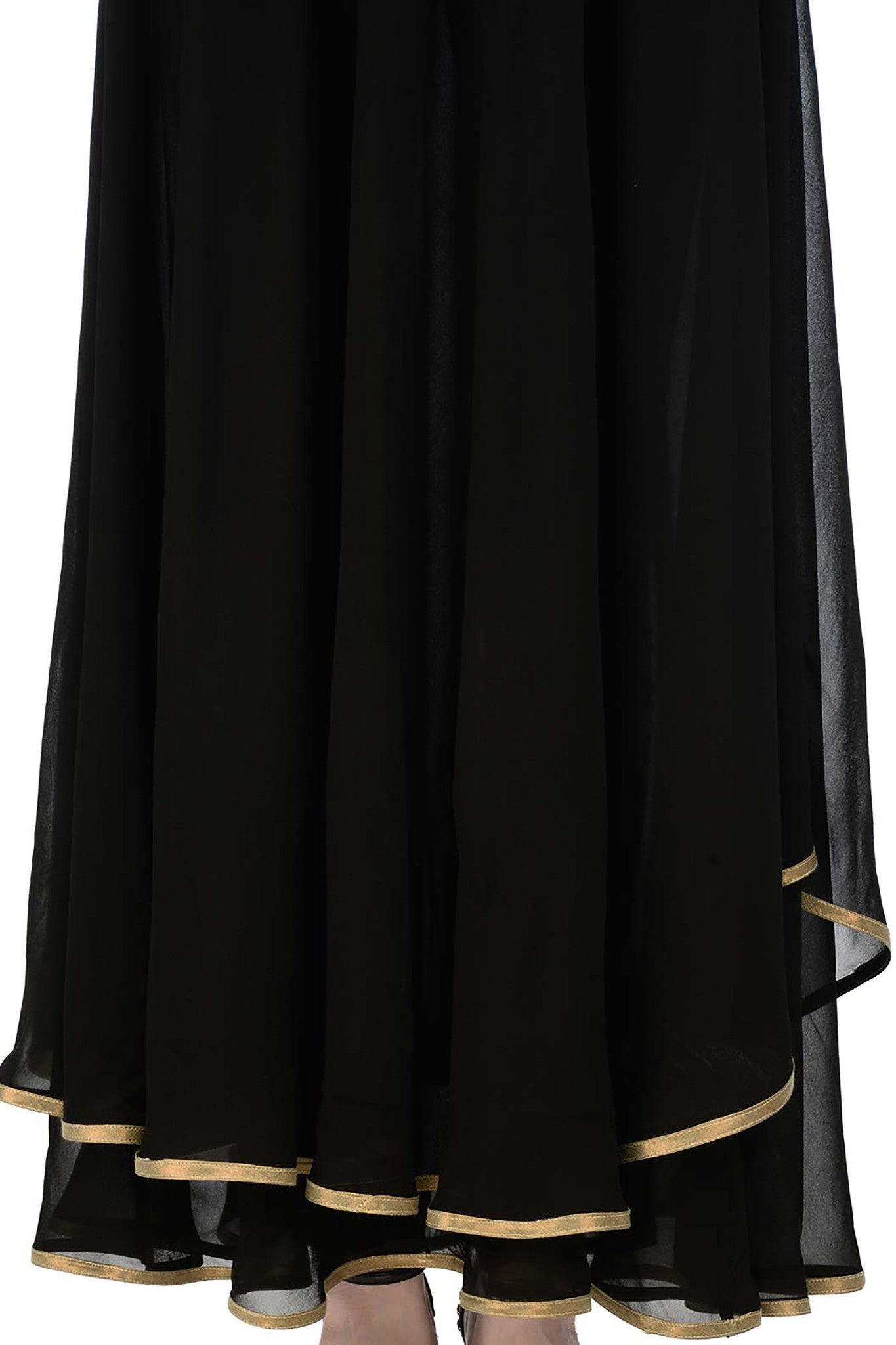 Black Anarkali with Gold Bird Motifs Skirt