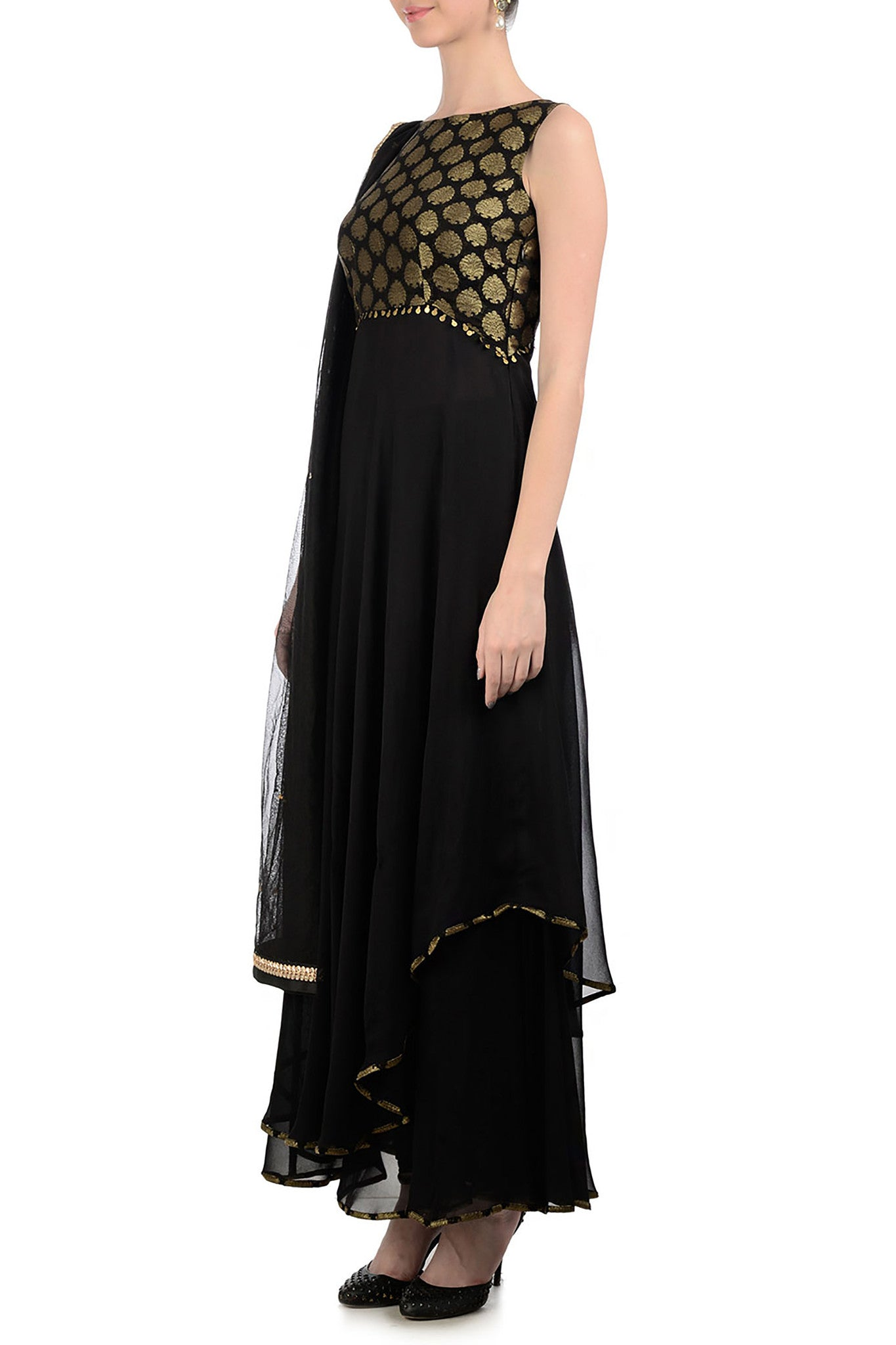 Black & Gold Anarkali with Brocade Side