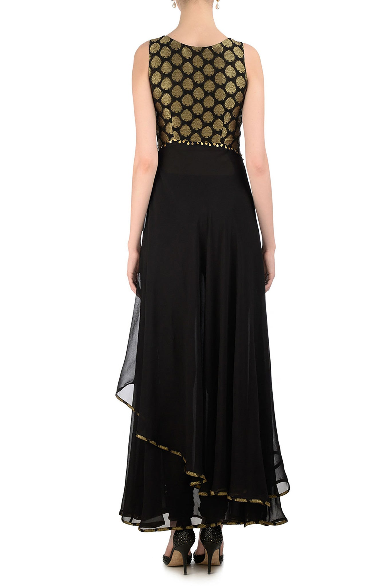 Black & Gold Anarkali with Brocade Back