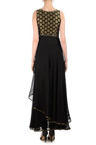 Black & Gold Anarkali with Brocade