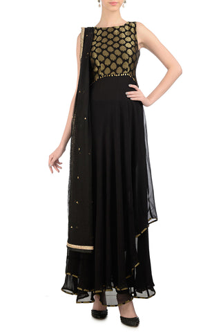 Black & Gold Anarkali with Brocade Front
