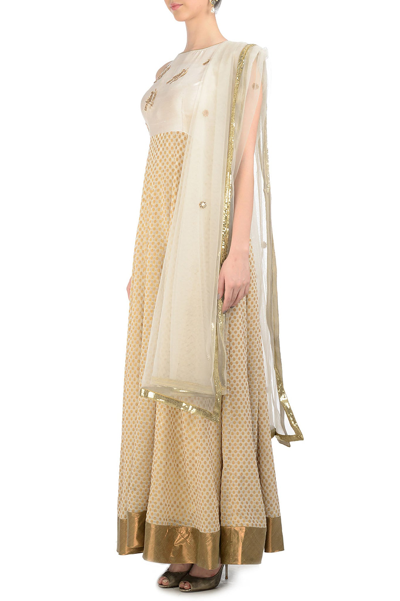 Ivory Anarkali with Gold Bird Motifs Side