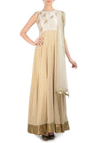 Ivory Anarkali with Gold Bird Motifs Front