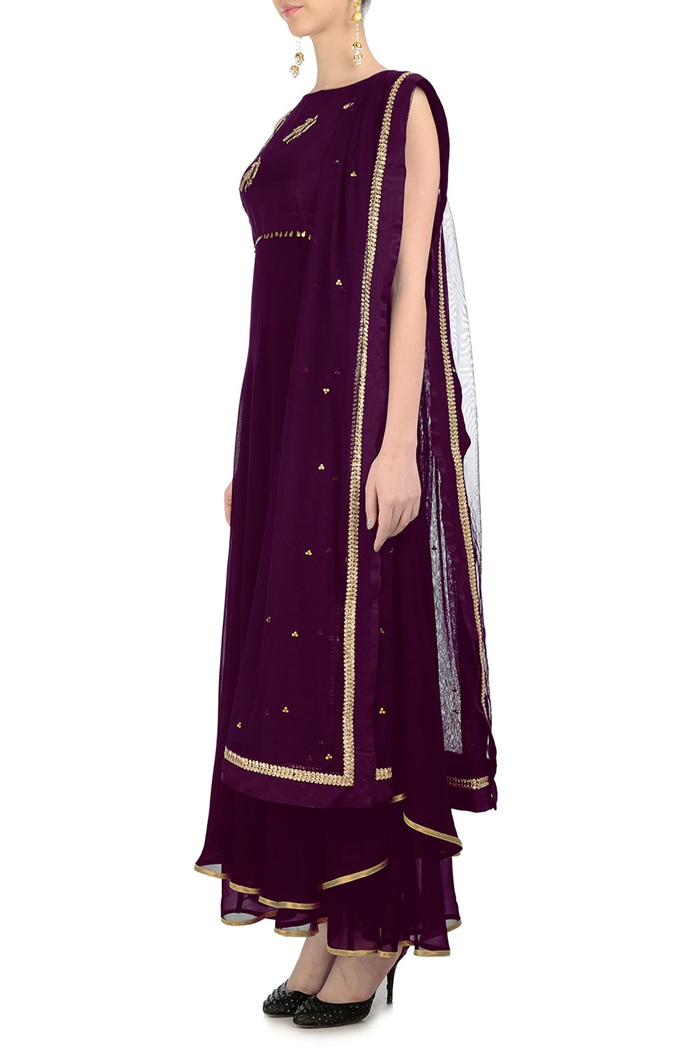 Plum Anarkali with Gold Bird Motifs Side