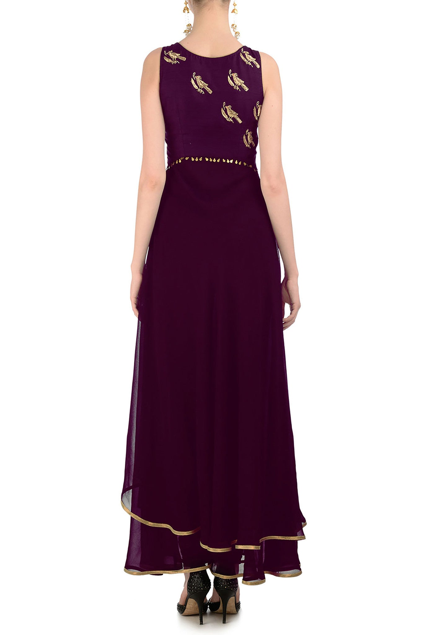 Plum Anarkali with Gold Bird Motifs Back