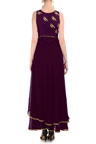Plum Anarkali with Gold Bird Motifs