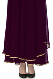 Plum Anarkali with Gold Bird Motifs Skirt