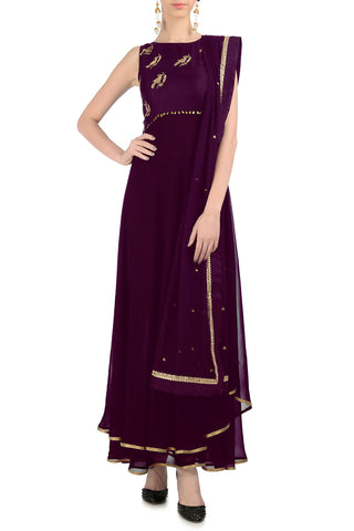 Plum Anarkali with Gold Bird Motifs Front