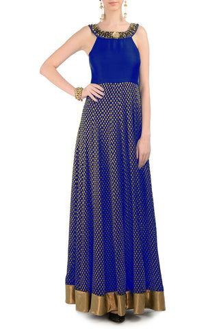 Blue & Gold Gown Front