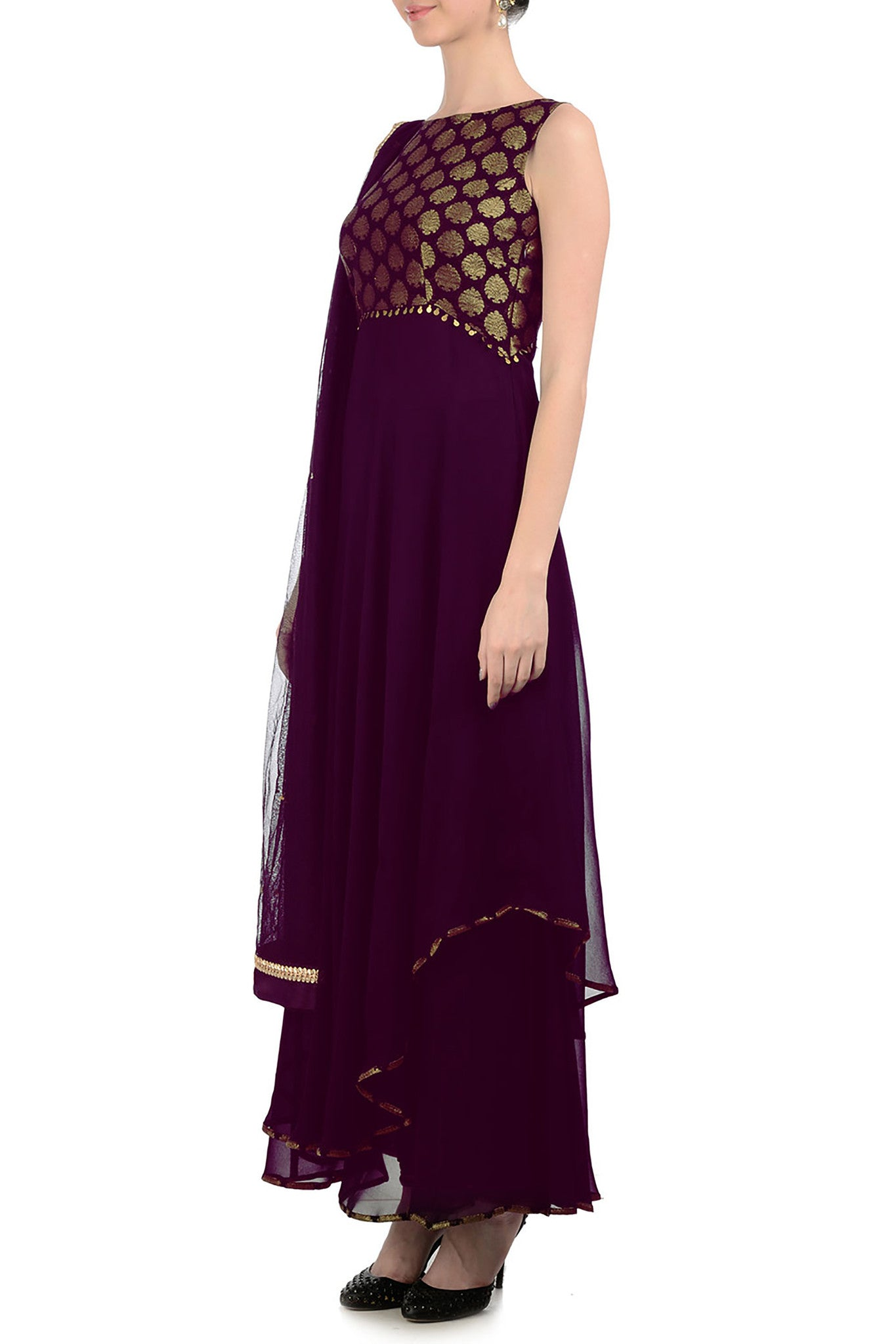 Plum & Gold Anarkali with Brocade Side
