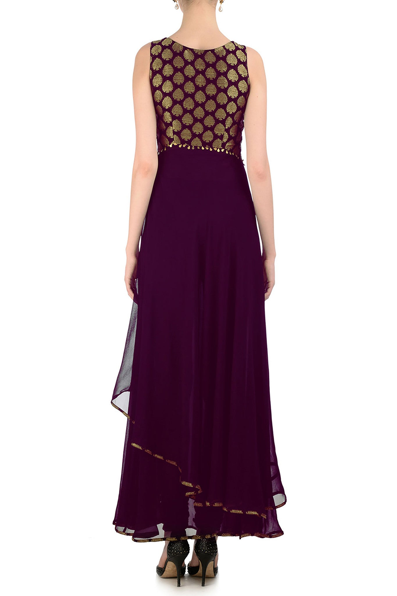 Plum & Gold Anarkali with Brocade Back