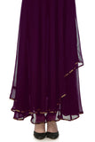 Plum & Gold Anarkali with Brocade Skirt