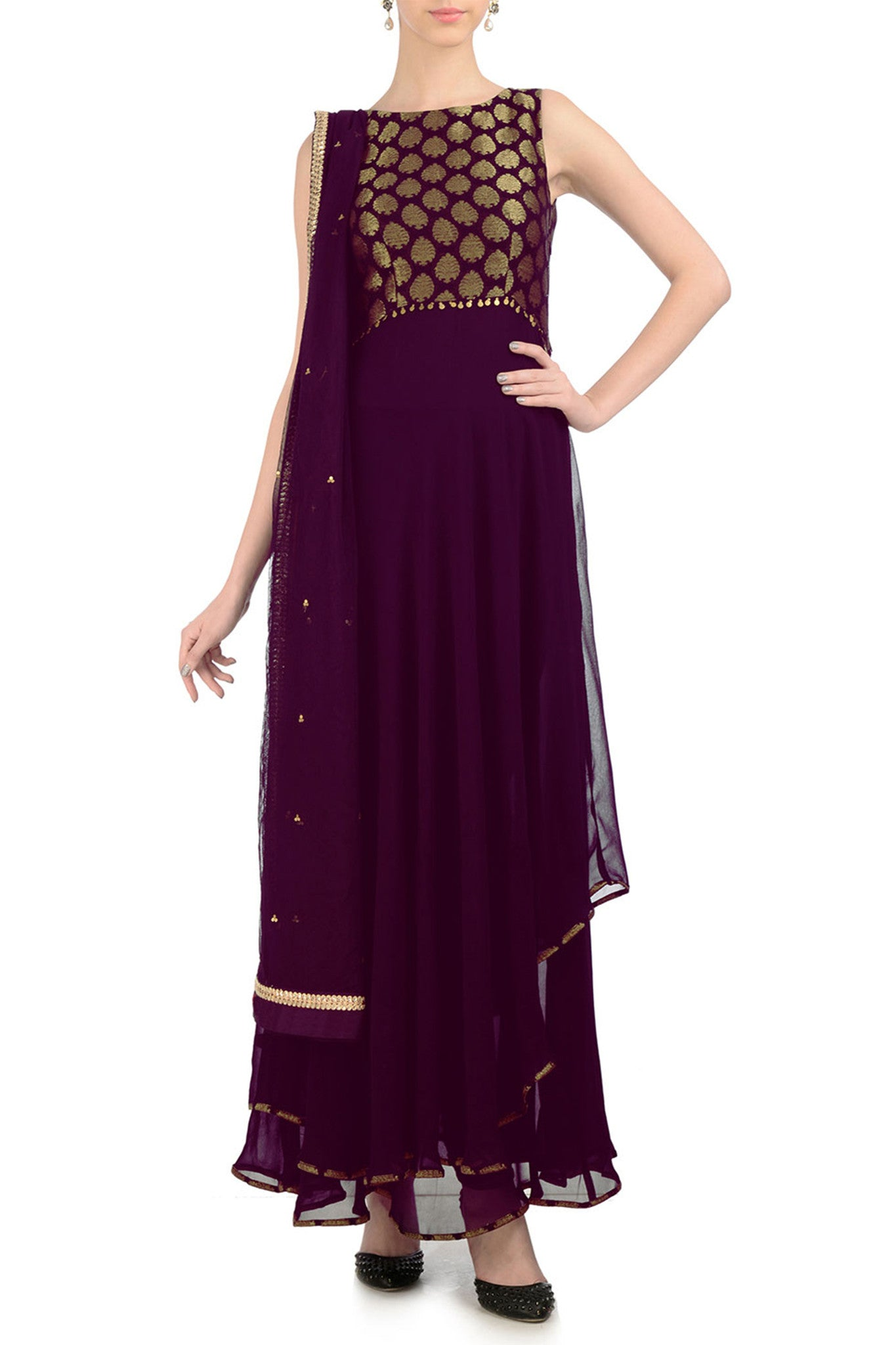 Plum & Gold Anarkali with Brocade