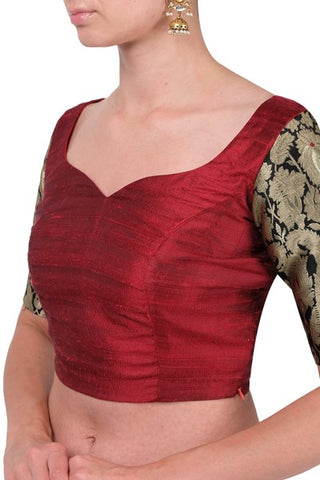 Maroon Blouse With Brocade Sleeves