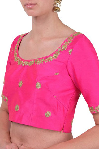 Fuchsia Pink Blouse With Embroidery