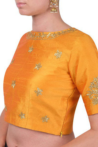 Mustard Yellow Blouse With Embroidery