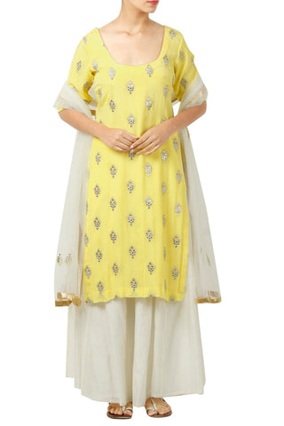 Sun Yellow Kurta With White Sharara And Dupatta Front