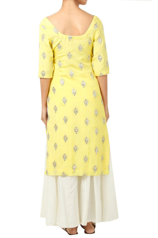 Sun Yellow Kurta With White Sharara And Dupatta