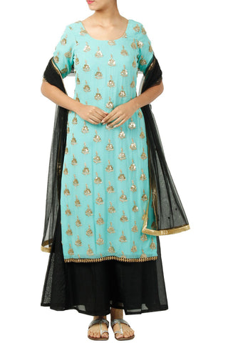 Mint Green Kurta With Black Dupatta And Sharrara Front