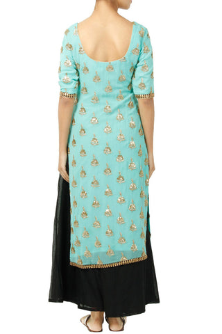 Mint Green Kurta With Black Dupatta And Sharrara