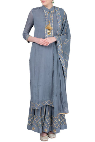 Grey Gharara Suit Front
