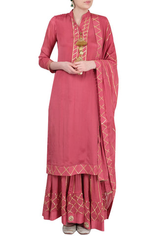 Peach Gharara Suit Front