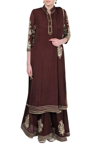Coffee Brown Gharara Suit Front