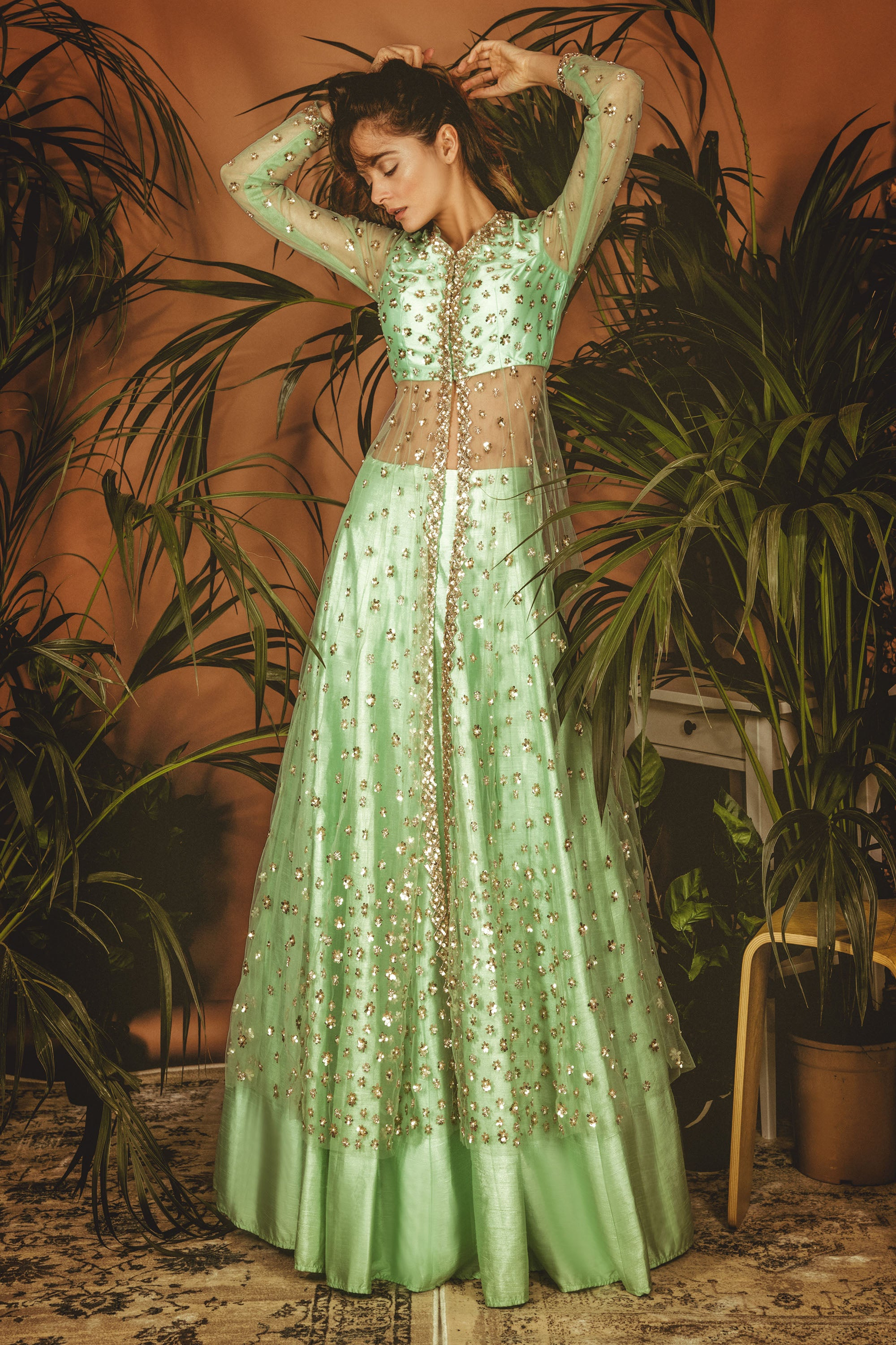 Mint Green La' Lily Jacket Lehenga SIDE