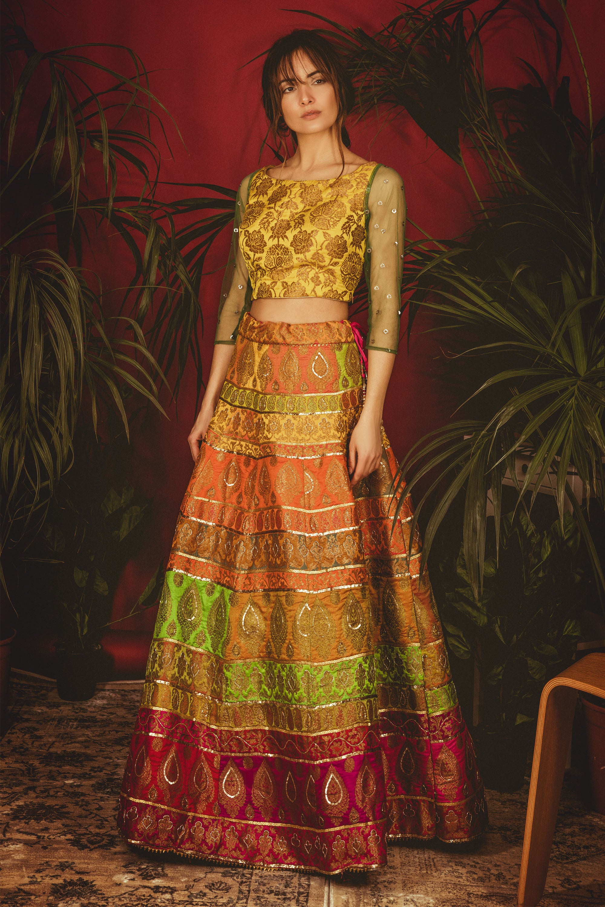 Multi-Colour La' Sunflower Lehenga FRONT