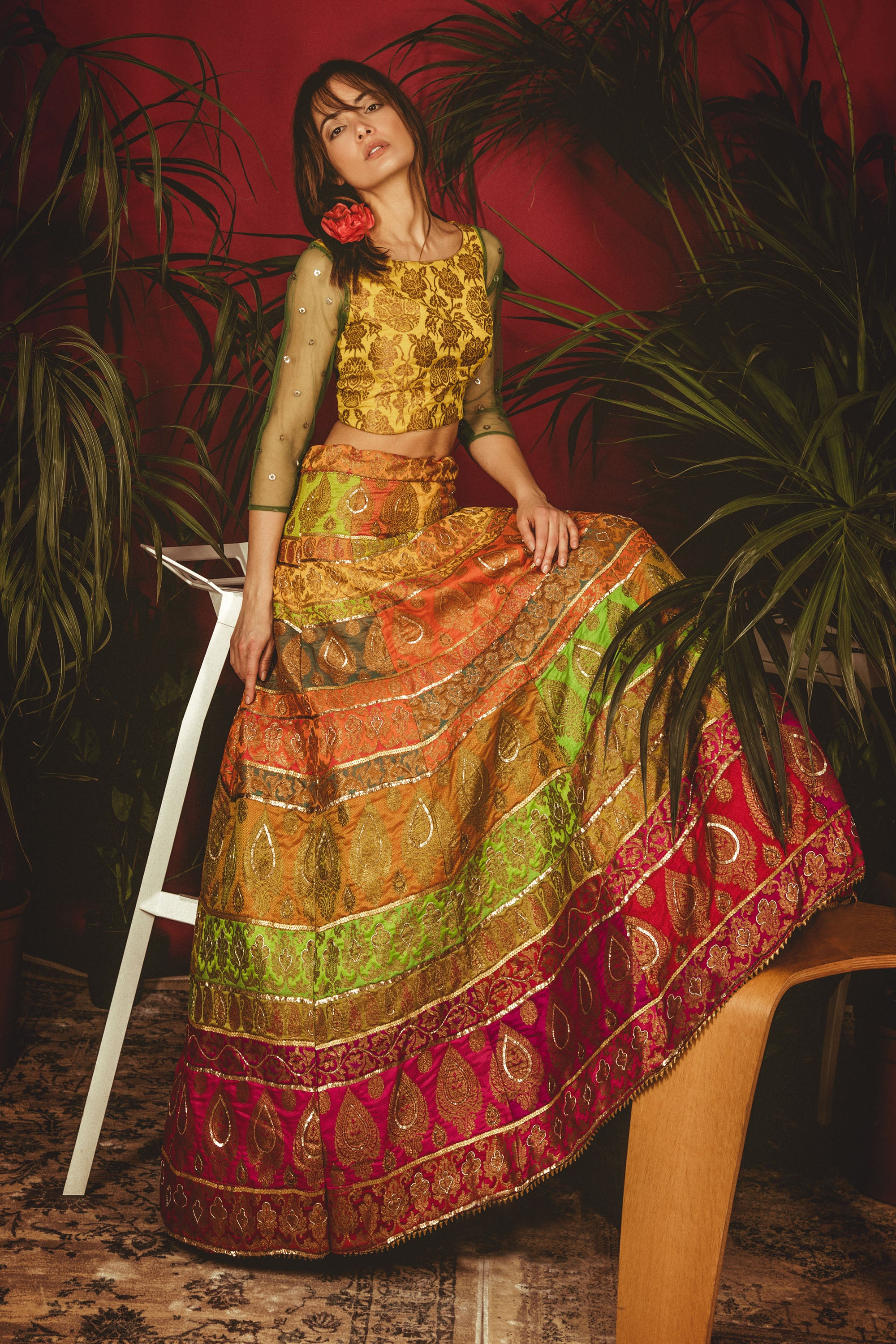 Multi-Colour La' Sunflower Lehenga SIDE