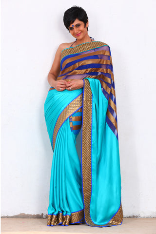 Turquoise Blue Satin Georgette Saree