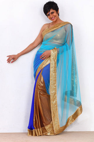 Blue Net Saree With Cotton Silk Blouse Front
