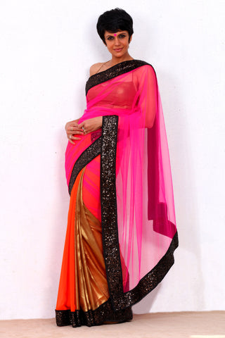 Orange Georgette & Pink Net Saree